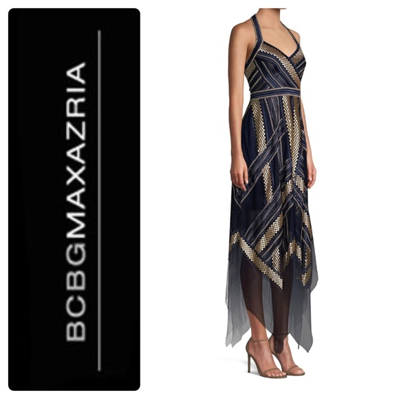 3dbe3e21a11 BCBGMaxazria Metallic Striped Handkerchief Dress
